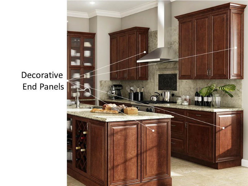Thermofoil Cabinets Include Matching Laminate Ends, While Wood Cabinets Can  Have A Laminate Or Real Wood Veneer Option. Choose Decorative End Panels To  ...